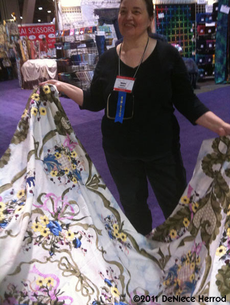 Sharon With Quilt At IQF Long Beach Show
