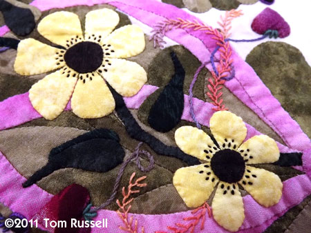 Sharon Schamber: Daisies, Ribbon and Embroidery Close Up