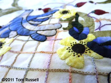 Sharon Schamber: Blue Bird Heart Embroidery Close Up